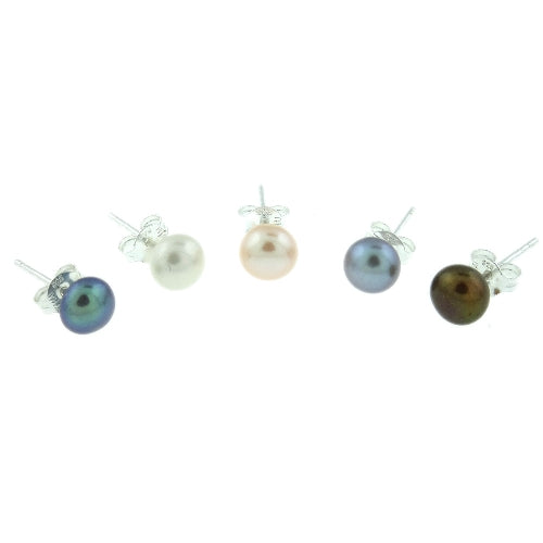 Sterling Silver 5 Pair Multi Color Freshwater Pearl White, Peacock, Pink, Grey, Chocolate Stud Earring Set