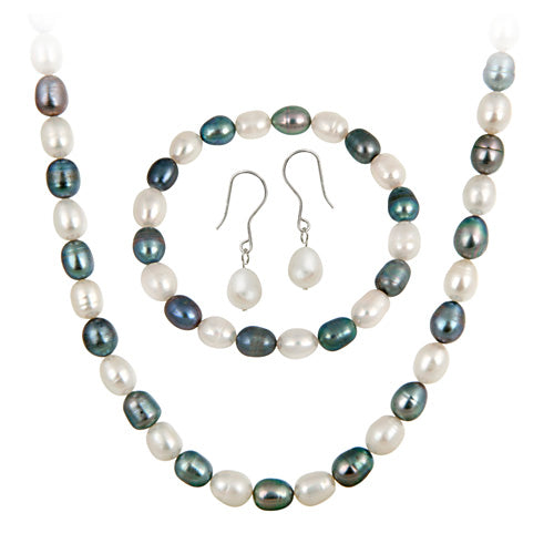 Sterling Silver Freshwater Cultured Multi Color Pearl Necklace, Bracelet Earring Jewelry Set
