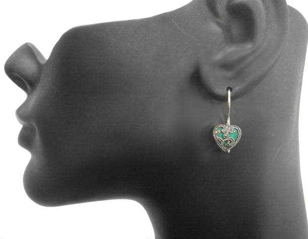 Sterling Silver Marcasite & Reconstituted Turquoise Heart Necklace & Earrings Set