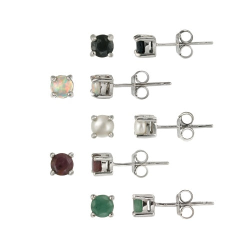 Sterling Silver 4mm Round Ruby, Sapphire, Emerald, Opal and Pearl Stud Earrings Set