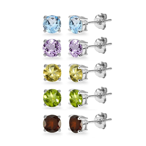 5-Pair Set Sterling Silver Amethyst, Blue Topaz, Citrine, Garnet & Peridot 5mm Round Stud Earrings