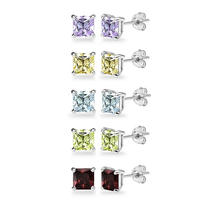 5-Pair Set Sterling Silver Amethyst, Blue Topaz, Citrine, Garnet & Peridot 5mm Princess-Cut Square Stud Earrings