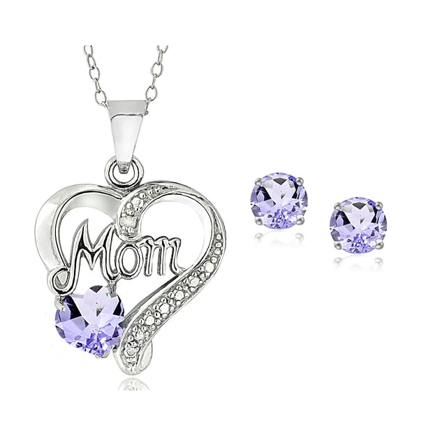 Sterling Silver Amethyst & Diamond Accent MOM Heart Pendant and Earrings Set