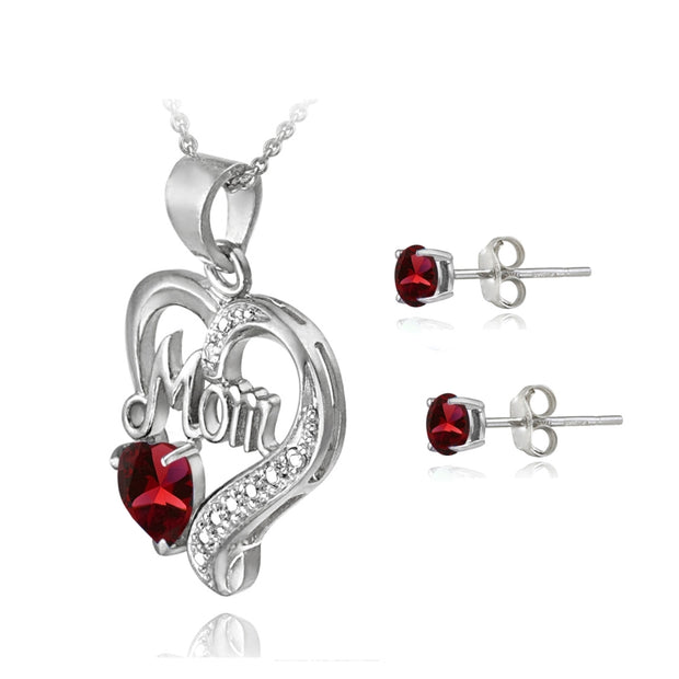 Sterling Silver Created Ruby & Diamond Accent Heart MOM Necklace and Earrings Set