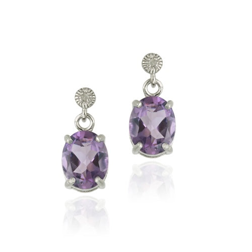 Sterling Silver 7.80 TCW Oval Amethyst and Diamond Pendant Earring Set