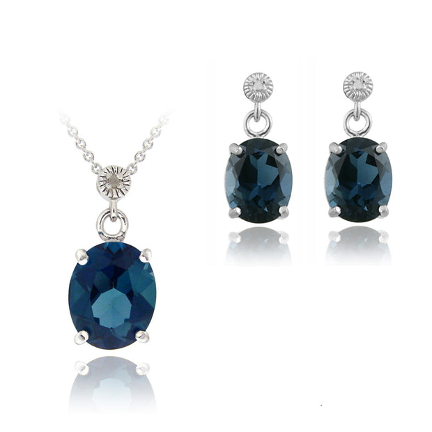 Sterling Silver 10.8ct London Blue Topaz & Diamond Accent Oval Pendant Earrings Set
