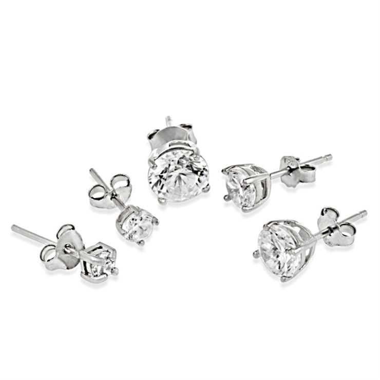 Sterling Silver Cubic Zirconia Set of 5 Round Stud Earrings