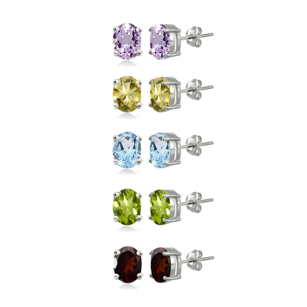 5-Pair Set Sterling Silver Amethyst, Blue Topaz, Citrine, Garnet & Peridot 6x4mm Oval Stud Earrings