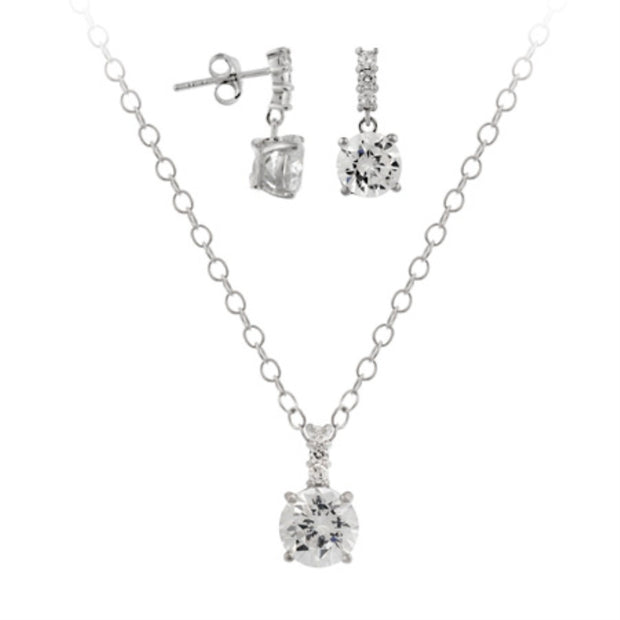 Sterling Silver CZ Solitaire Drop Pendant & Earrings Set