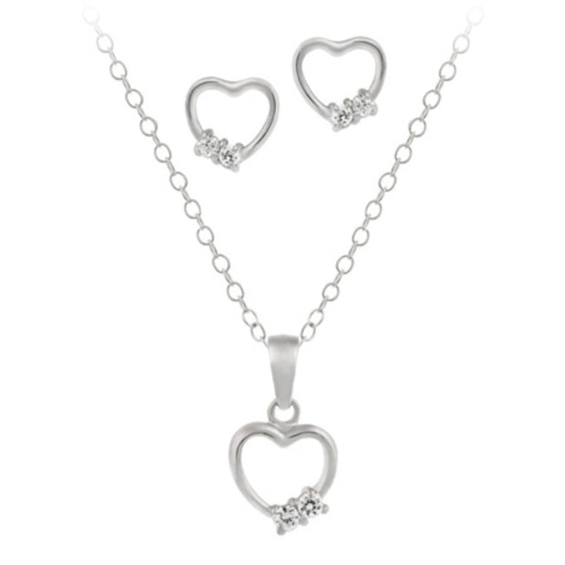 Sterling Silver Open Heart CZ Stones Pendant & Earrings Set