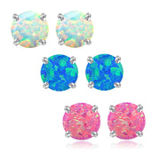 Sterling Silver Multi Color Created Opal Set of 3 Stud Earrings Set 4mm