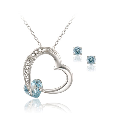 Sterling Silver 2ct Blue Topaz & Diamond Accent Floating Heart Pendant and Earrings Set