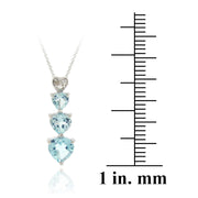 Sterling Silve Blue Topaz & Diamond Heart Necklace & Earrings Set