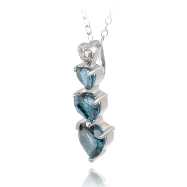 Sterling Silver 2.25ct London Blue Topaz & Diamond Heart Necklace & Earrings Set