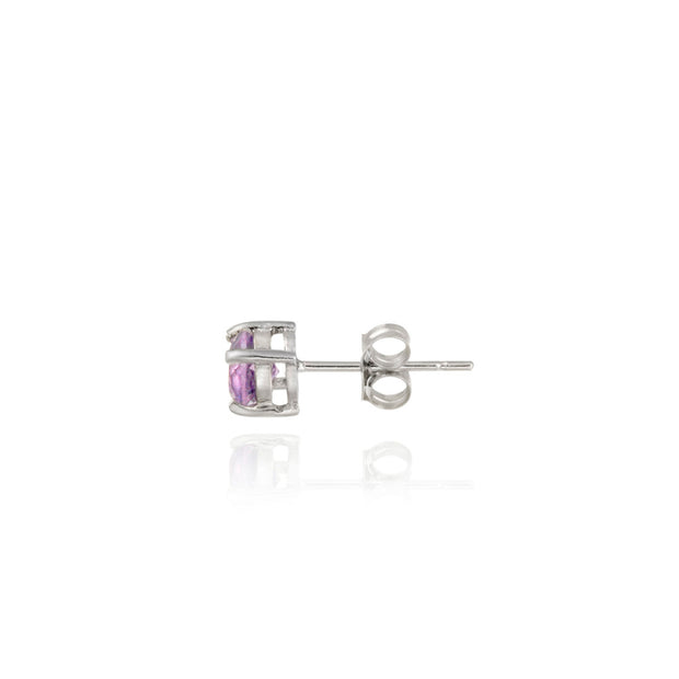 Sterling Silver 2.85ct Amethyst & Diamond Accent Square Necklace & Earrings Set