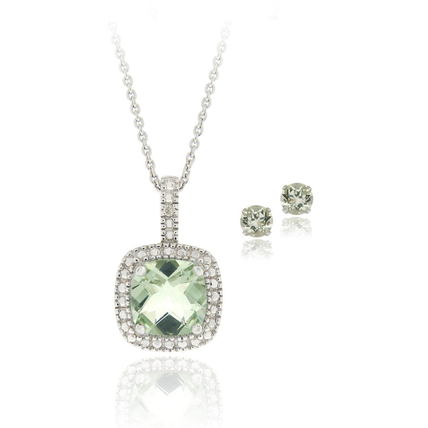 Sterling Silver 2.85ct Green Amethyst & Diamond Accent Square Necklace & Earrings Set