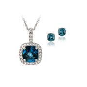 Sterling Silver 4ct London Blue Topaz & Diamond Accent Square Necklace & Earrings Set