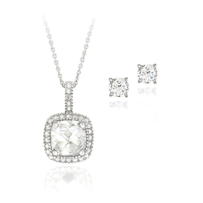 Sterling Silver 4ct White Topaz & Diamond Accent Square Necklace & Earrings Set