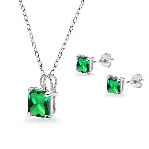 Sterling Silver Simulated Emerald Square Solitaire Necklace and Stud Earrings Set