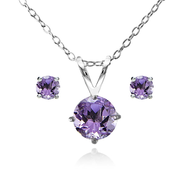 Sterling Silver Amethyst Round Solitaire Necklace and Stud Earrings Set