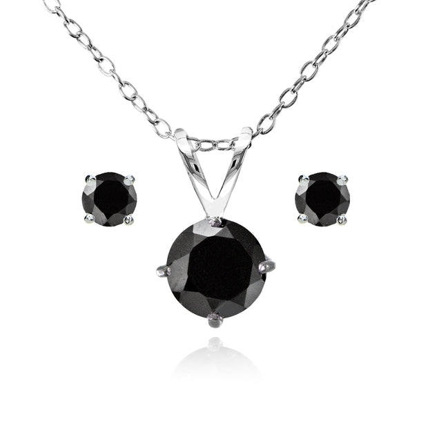 Sterling Silver Black Spinel Round Solitaire Necklace and Stud Earrings Set