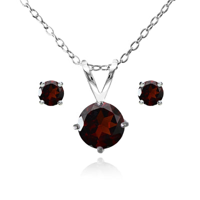 Sterling Silver Garnet Round Solitaire Necklace and Stud Earrings Set
