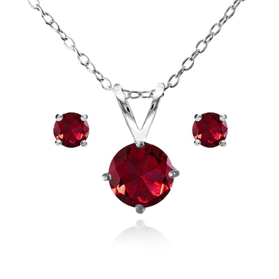 Sterling Silver Created Ruby Round Solitaire Necklace and Stud Earrings Set