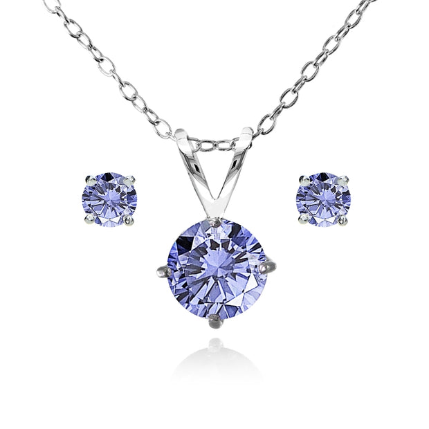 Sterling Silver Simulated Tanzanite Round Solitaire Necklace and Stud Earrings Set