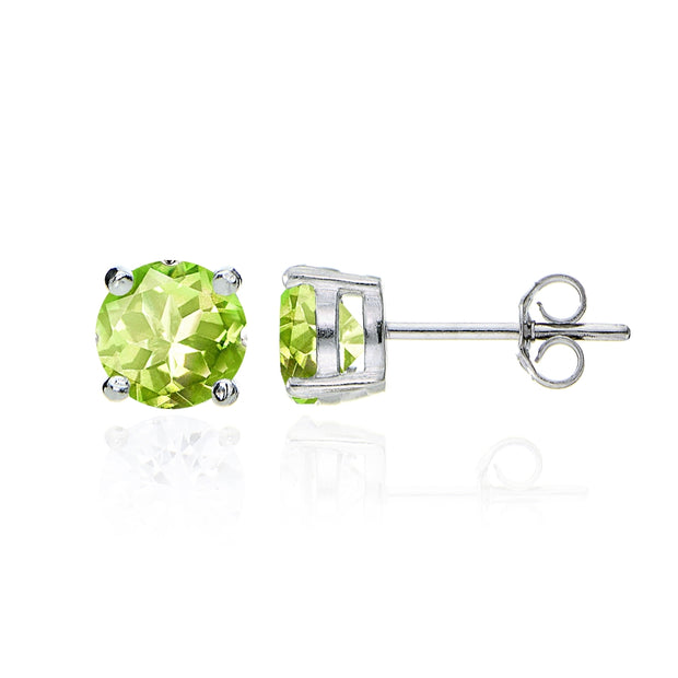 Sterling Silver Peridot Round Solitaire Necklace and Stud Earrings Set
