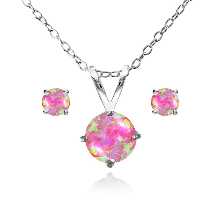 Sterling Silver Created Pink Opal Round Solitaire Necklace and Stud Earrings Set