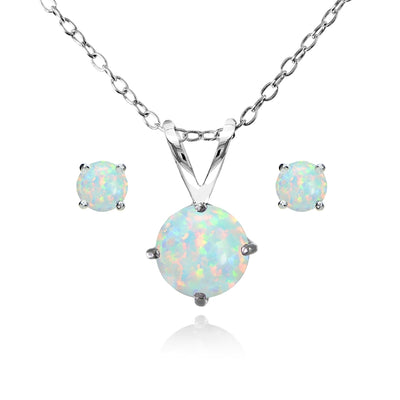 Sterling Silver Simulated White Opal Round Solitaire Necklace and Stud Earrings Set