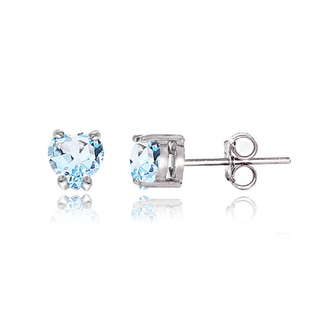 Sterling Silver Blue Topaz Heart Solitaire Necklace and Stud Earrings Set
