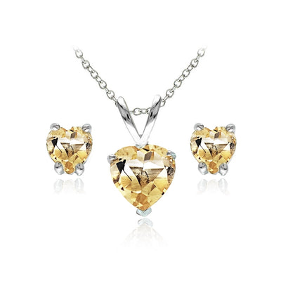 Sterling Silver Citrine Heart Solitaire Necklace and Stud Earrings Set
