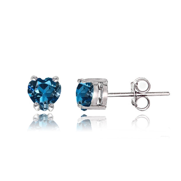 Sterling Silver London Blue Topaz Heart Solitaire Necklace and Stud Earrings Set