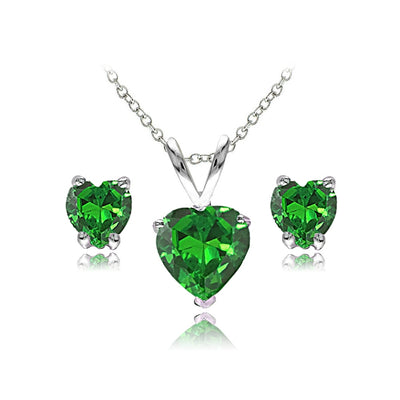 Sterling Silver Simulated Emerald Heart Solitaire Necklace and Stud Earrings Set