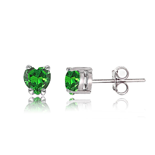 Sterling Silver Created Emerald Heart Solitaire Necklace and Stud Earrings Set