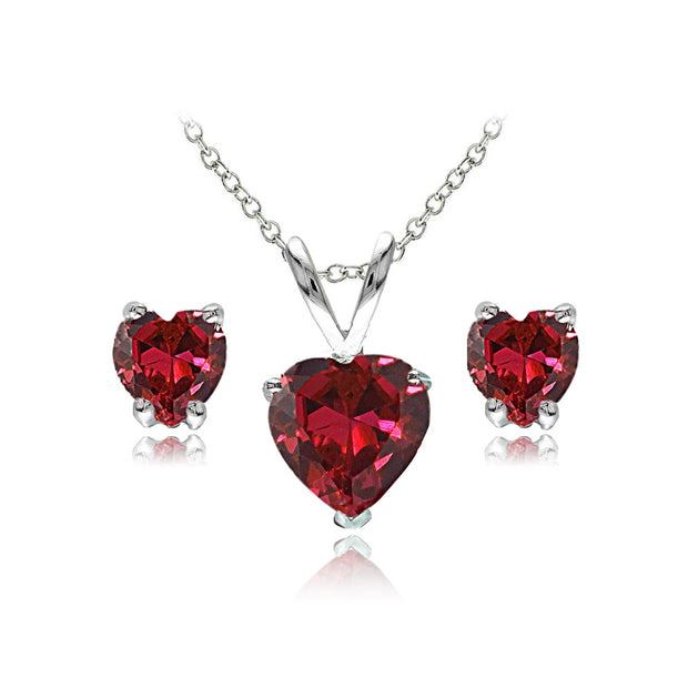 Sterling Silver Created Ruby Heart Solitaire Necklace and Stud Earrings Set