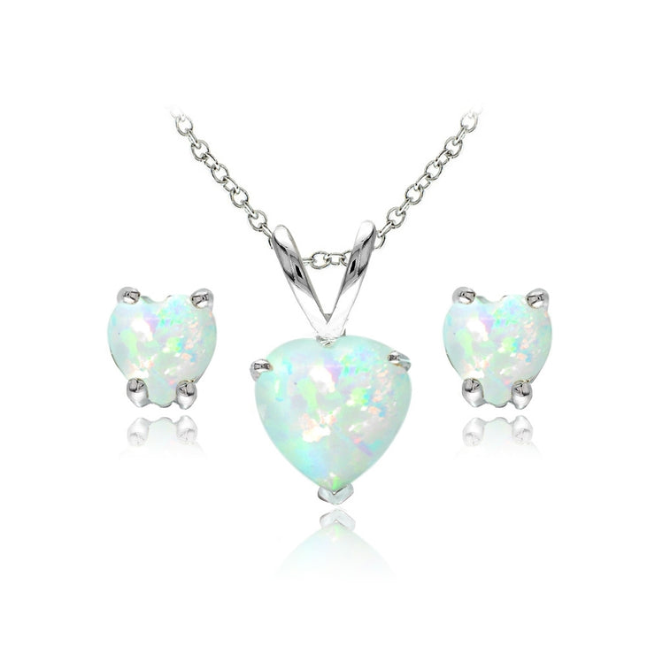 Sterling Silver Created White Opal Heart Solitaire Necklace and Stud Earrings Set