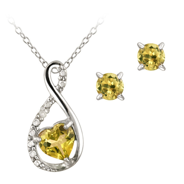 Sterling Silver Citrine & Diamond Accent Swirl Heart Necklace and Earrings Set