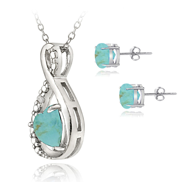 Sterling Silver Created Turquoise and Diamond Accent Swirl Heart Necklace and Earrings Set