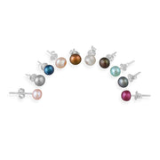 Sterling Silver 5-5.5mm Multi Color Freshwater Cultured Pearl Stud Earrings, Set of 10