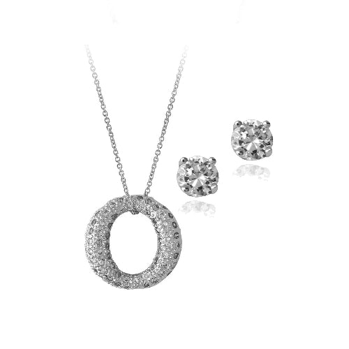 Sterling Silver CZ Open Circle Pendant & Stud Earrings Set