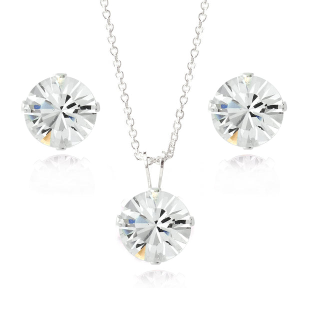 Sterling Silver Swarovski Elements 8mm Necklace & Stud Earrings Set