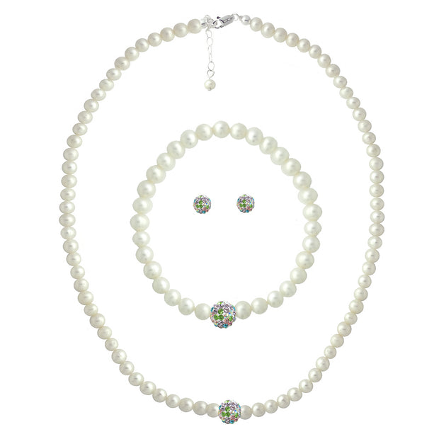 Sterling ilver Freshwater Cultured White Pearl & Multi Crystal Fireball Necklace, Bracelet & Earrings Set