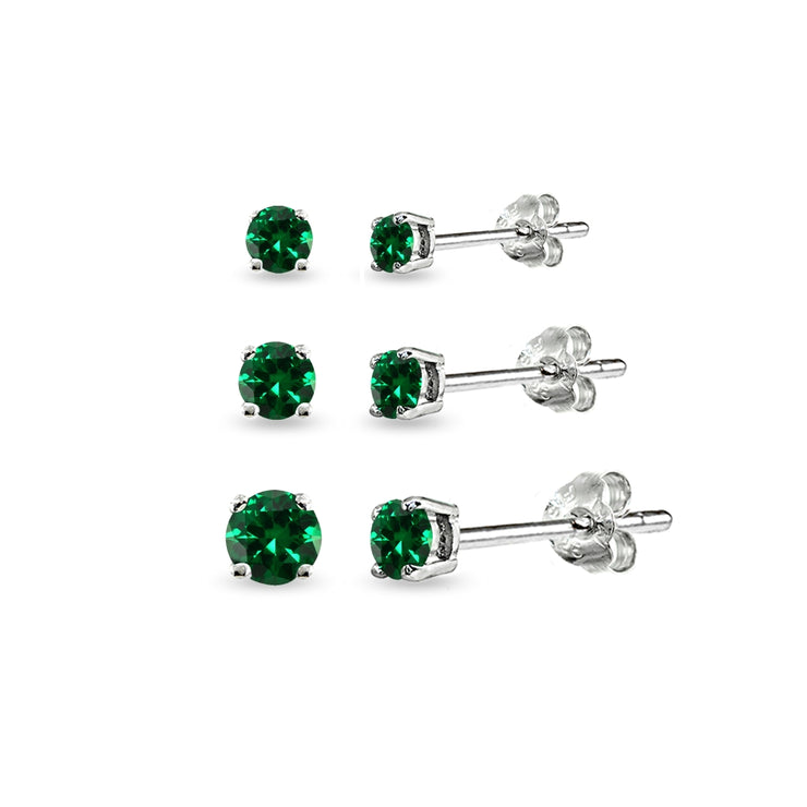 3-Pair Set Sterling Silver Simulated Emerald Round Stud Earrings, 3mm 4mm 5mm