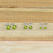 3-Pair Set Sterling Silver Peridot Round Stud Earrings, 3mm 4mm 5mm
