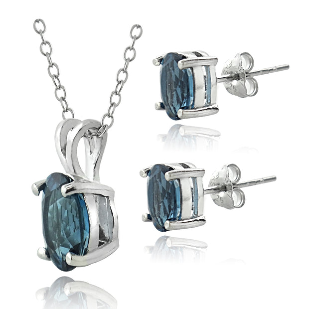 Sterling Silver 4.2ct London Blue Topaz Oval Solitaire Necklace & Earrings Set