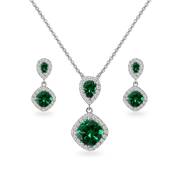 Sterling Silver Created Emerald & White Topaz Dangle Earrings & Necklace Set