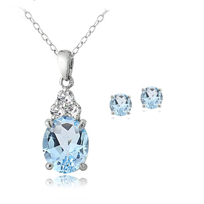 Sterling Silver 3.9ct Blue and White Topaz Oval Necklace & Earrings Set