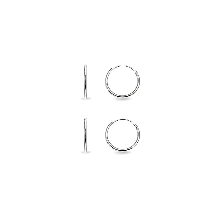 Sterling Silver Set of Two Endless Hoop Earrings, 10mm